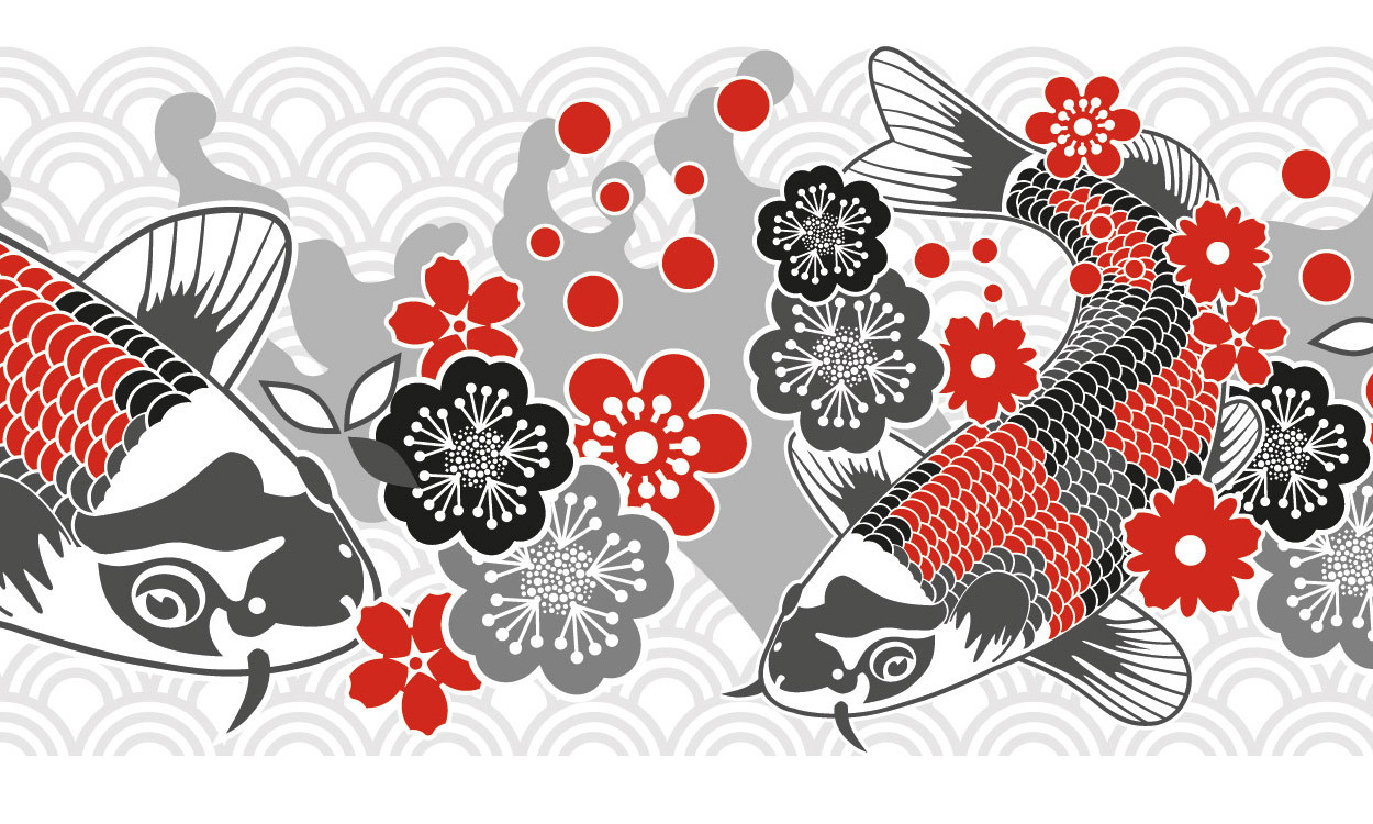 selbstklebende bord re koi karpfen mit kirschbl ten miyo mori. Black Bedroom Furniture Sets. Home Design Ideas