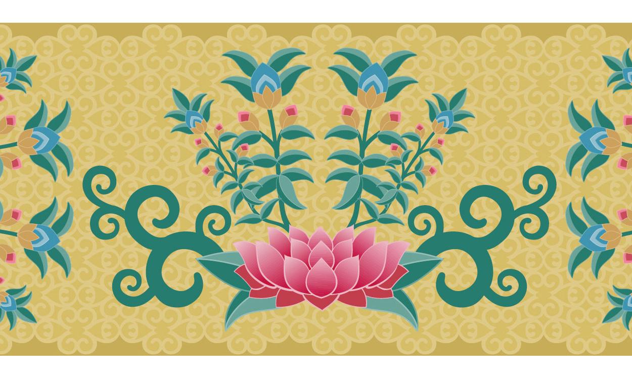 Selbstklebende bord re amidha buddha goldfarben miyo mori for Tapeten goldfarben