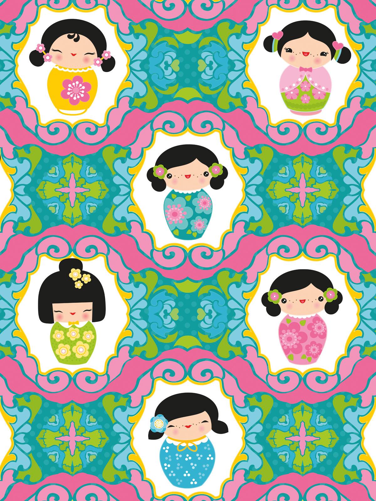 Tapeten Wandbild Kinderzimmer Kokeshi Dolls Turkis