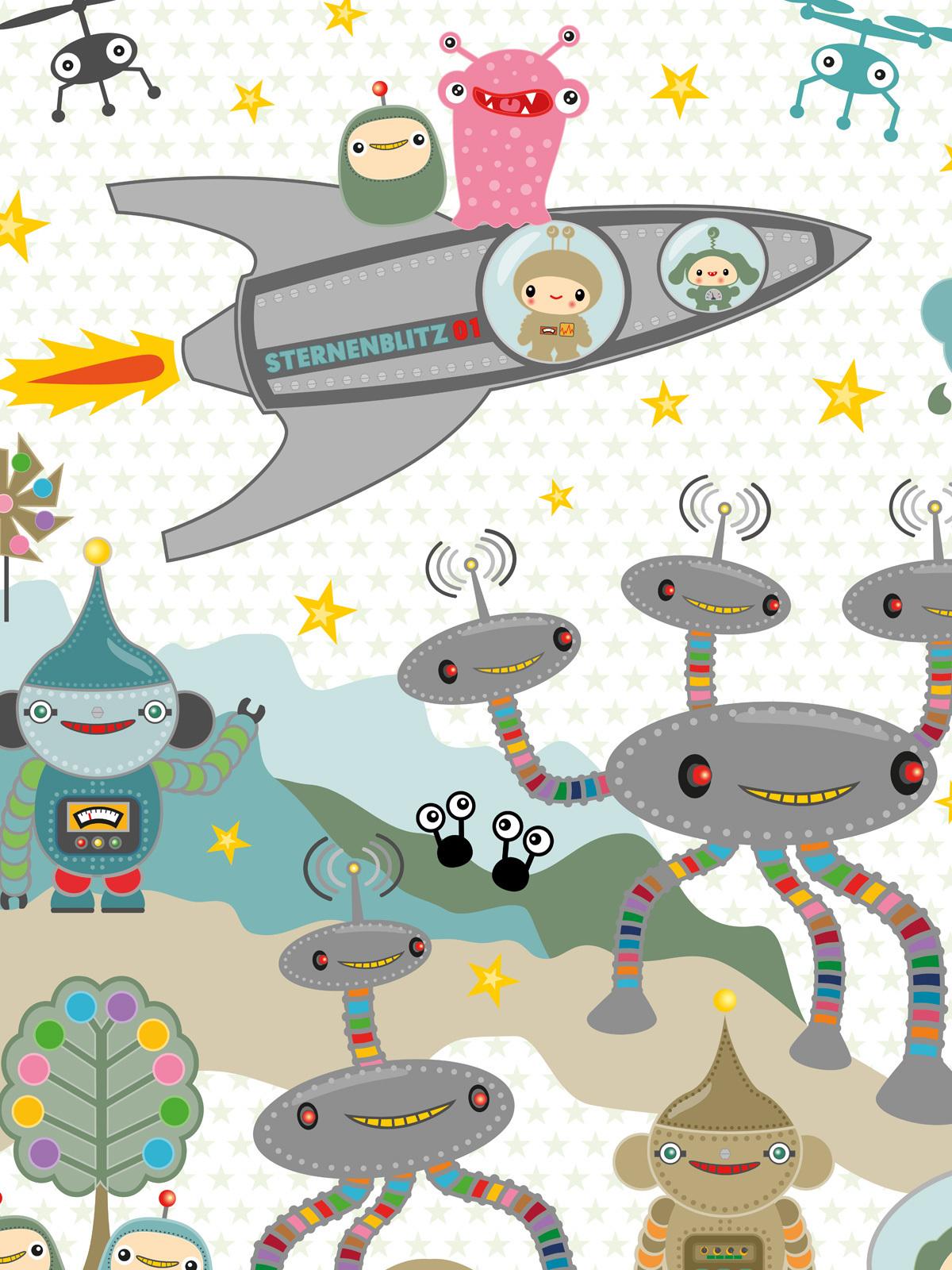 Kinderzimmer Tapete - Sternenblitz auf Planet Noxy