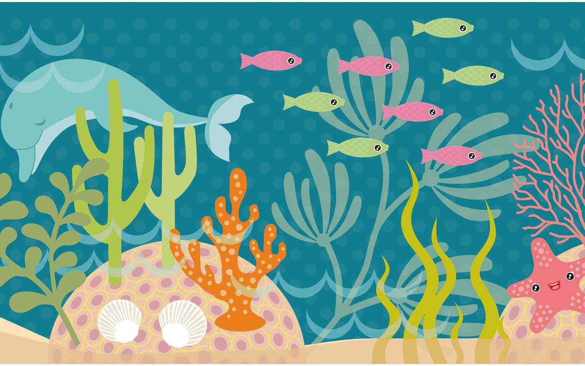 Bordüre Kinderzimmer - kleine Meerjungfrau - blau