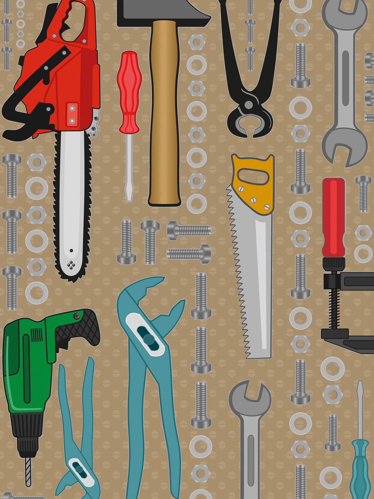 Kinderzimmer Tapete - viele verschiedene Werkzeuge