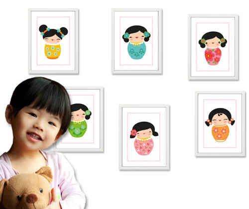 Kinderzimmer Poster - little Kokeshi Dolls